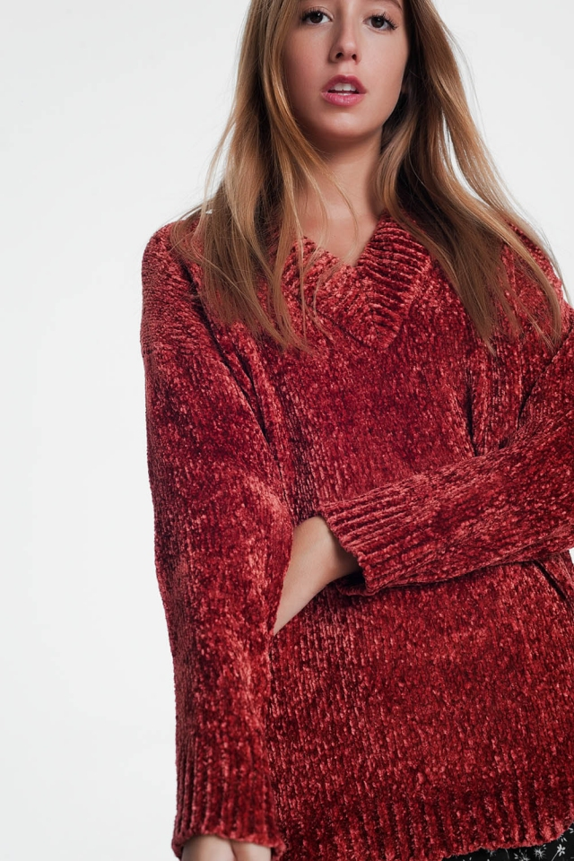 Long sweater with long sleeves and v-neck in caldera