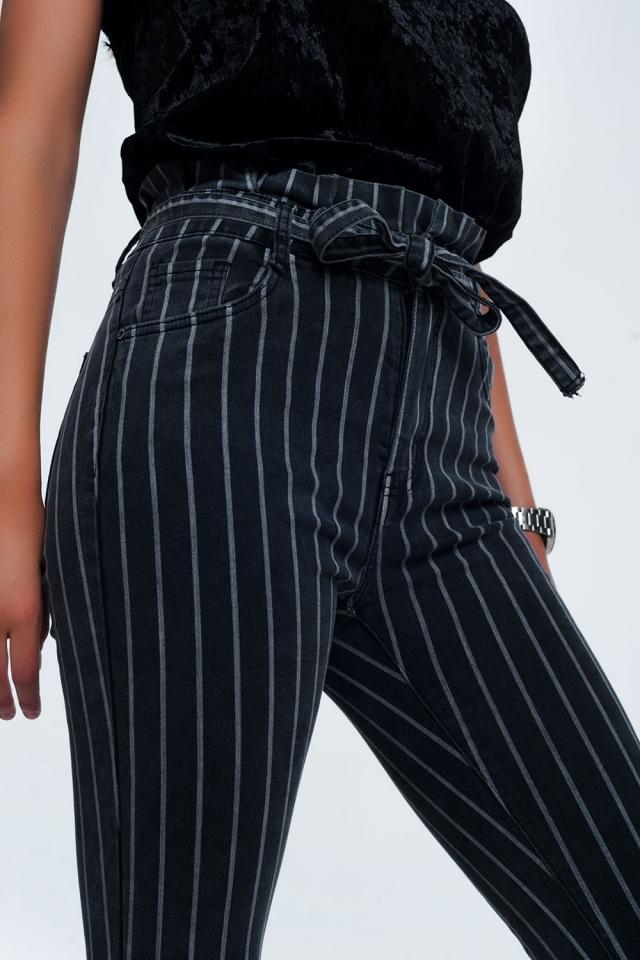 Jeans skinny grigi con strisce