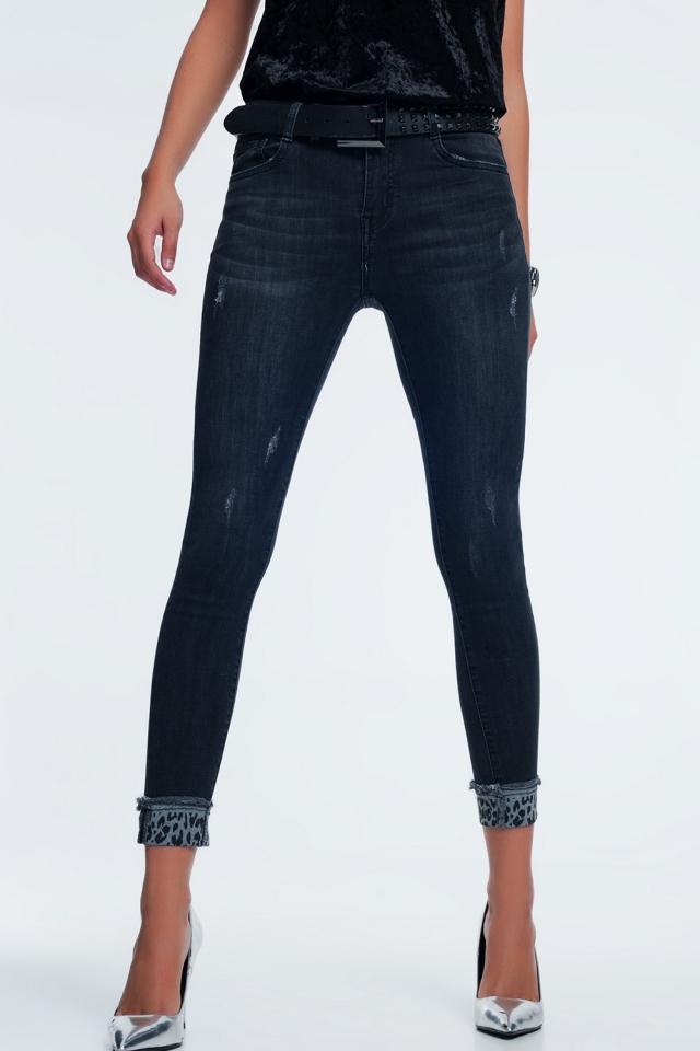 Dark grey skinny jeans with ankle detail