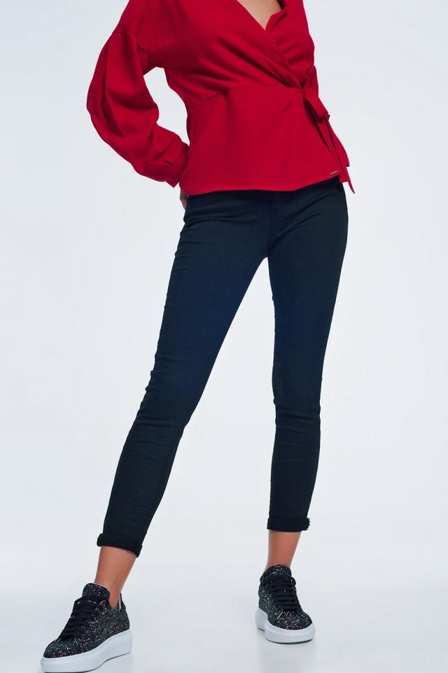 Jeans nero vita alta