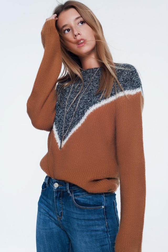 maglione color chevron color cammello