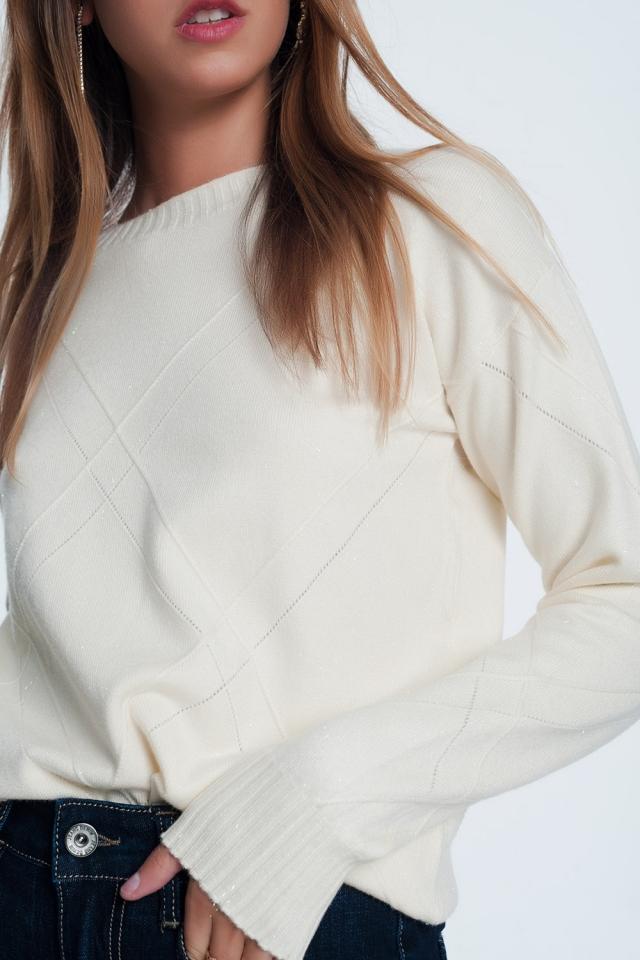Maglione operato girocollo color crema