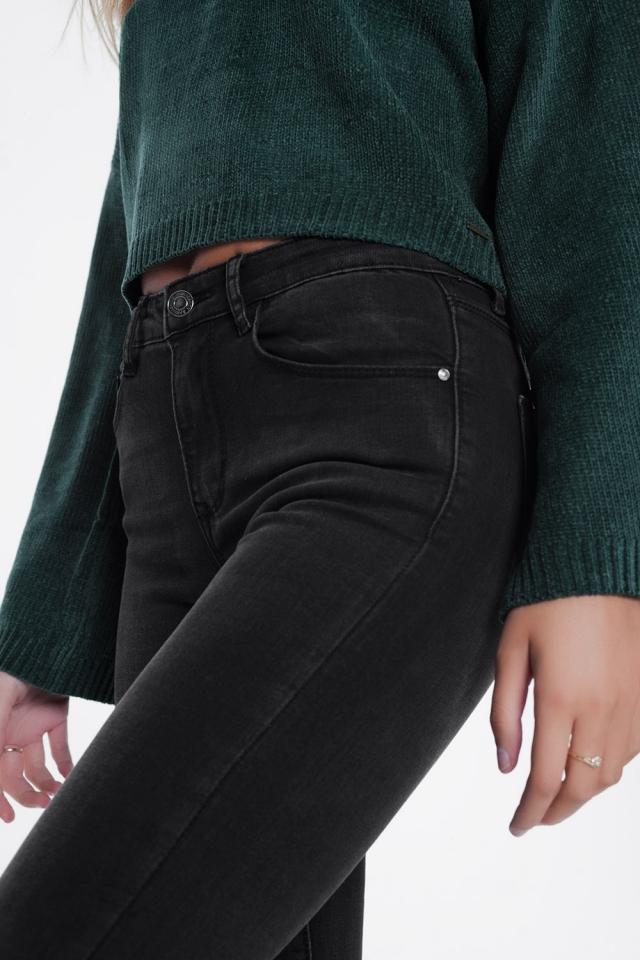 Jeans vita alta skinny nero slavato