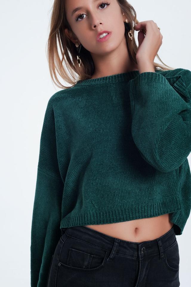 Maglione corto con maniche svasate in verde