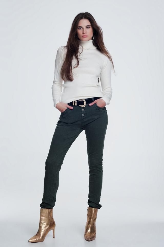 Jeans relaxed a 4 bottoni kaki