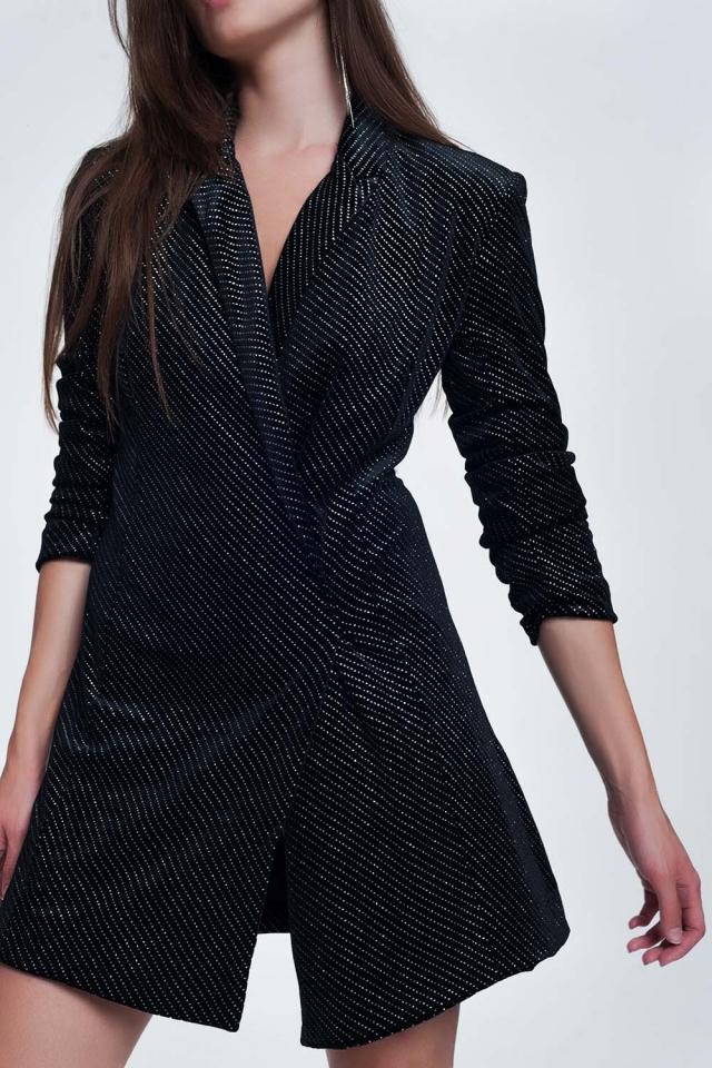 Vestitino stile blazer nero glitter