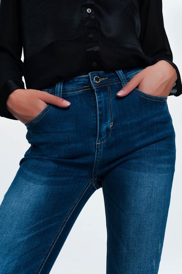 Jeans skinny blu a metà lavaggio