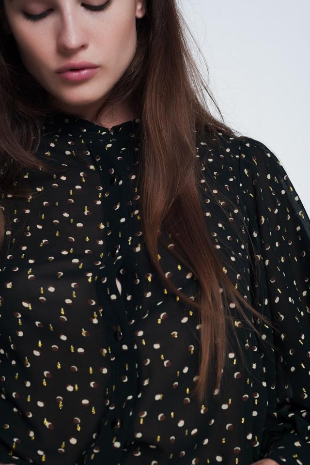 camicia trasparente con stampa verde