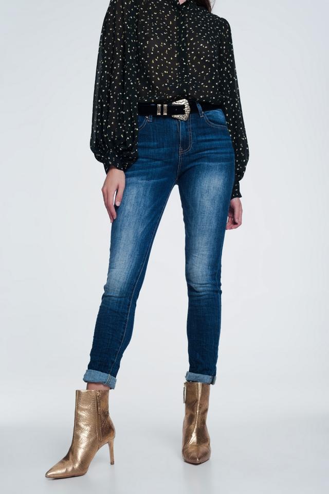 Jeans skinny a vita alta lavaggio stone wash blu molto scuro