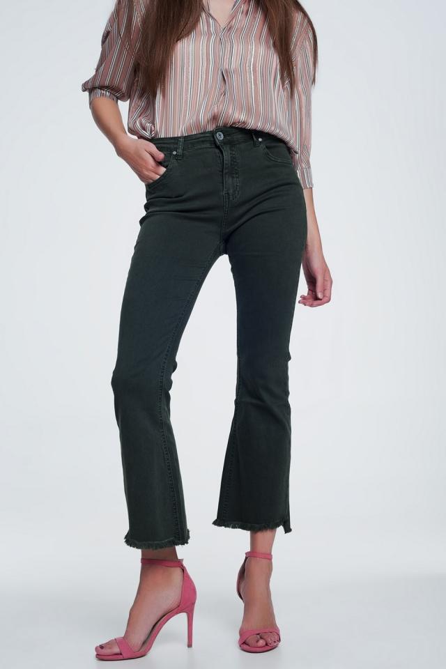 Jeans a vita alta a zampa con fondo grezzo color kaki