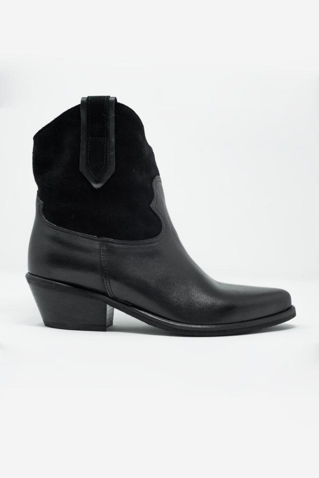 Stivali neri stile western con tacco medio