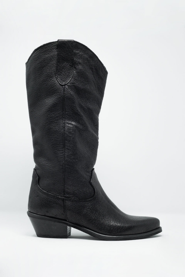 Stivali neri al ginocchio stile western
