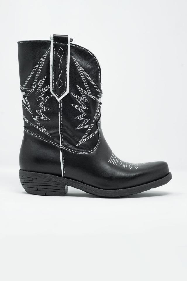 Stivaletti stile cowboy in pelle nera