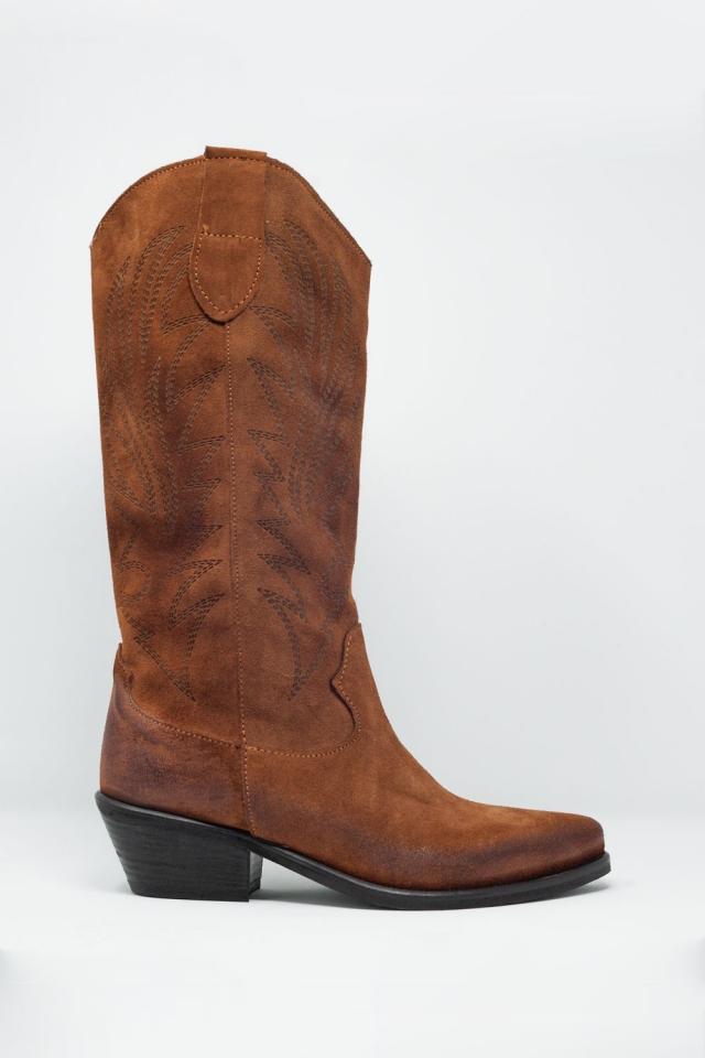 Stivali alti marroni stile cowboy