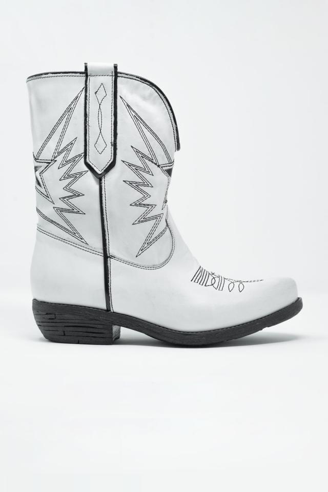 Stivali stile western in pelle bianca
