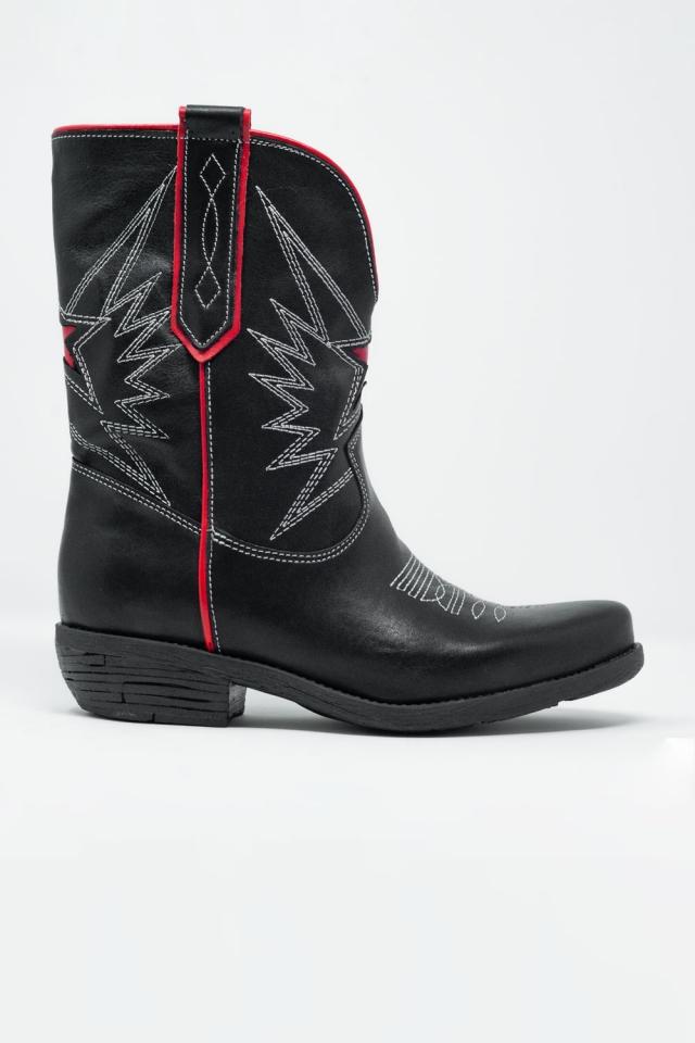 Stivali stile western in pelle nera e rossa