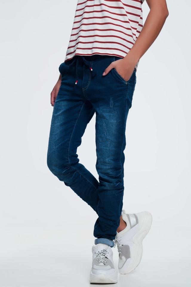 Jeans con cintura a coulisse