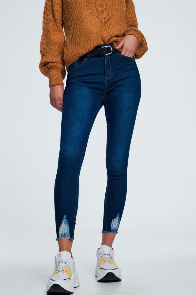 Jeans skinny strappati blu medio
