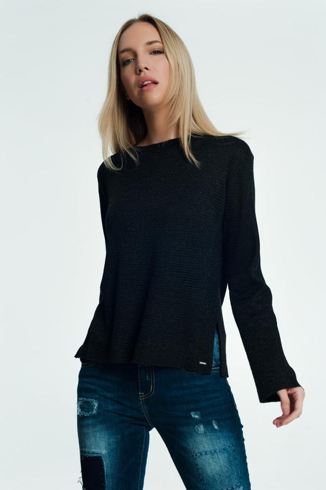 Maglione nero con dettaglio a costine e maglia