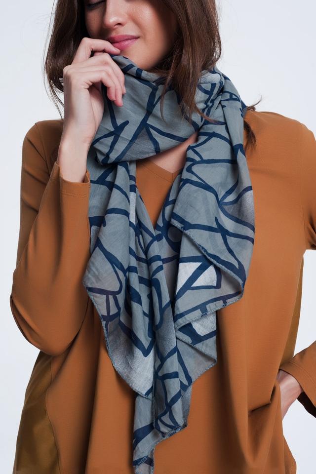 sciarpa grigio scuro con stampa astratta
