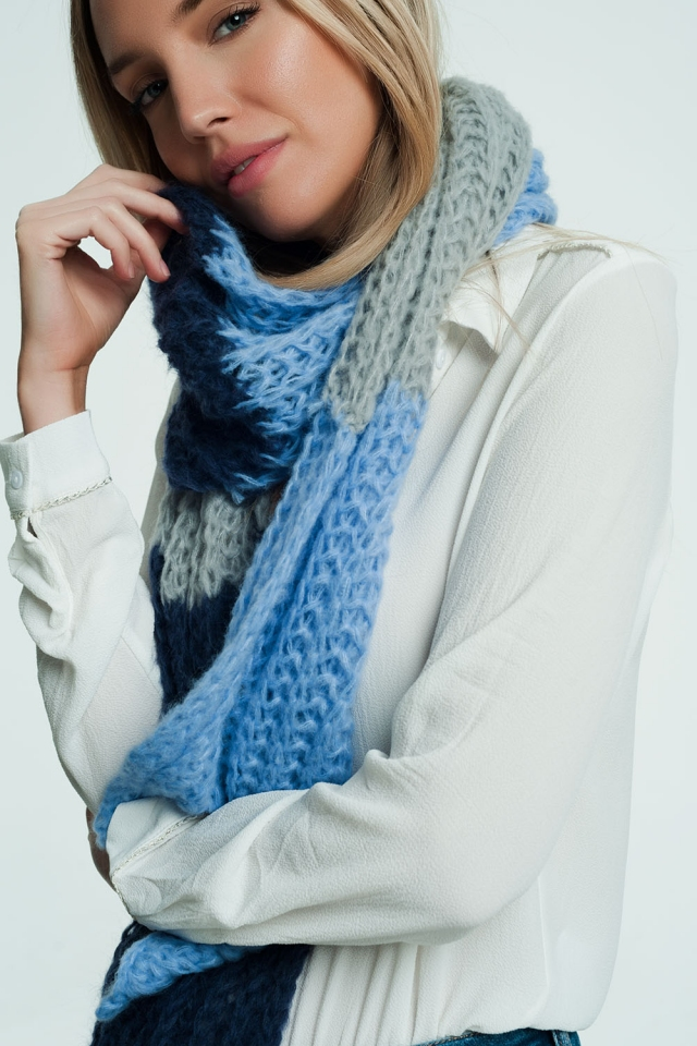 Thick blue scarf with navy and grey details
