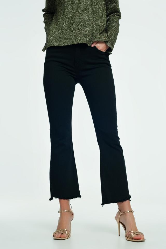 Jeans svasati neri a vita alta con fondo svasato