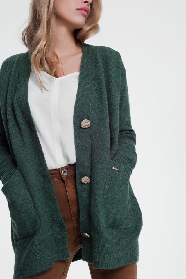Giacca cardigan verde maniche lunghe