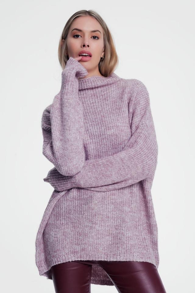 Maglione rosa lavorato ampio