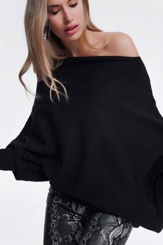Maglione nero asimmetrico
