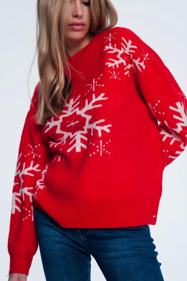 Maglione natalizio con fiocchi di neve