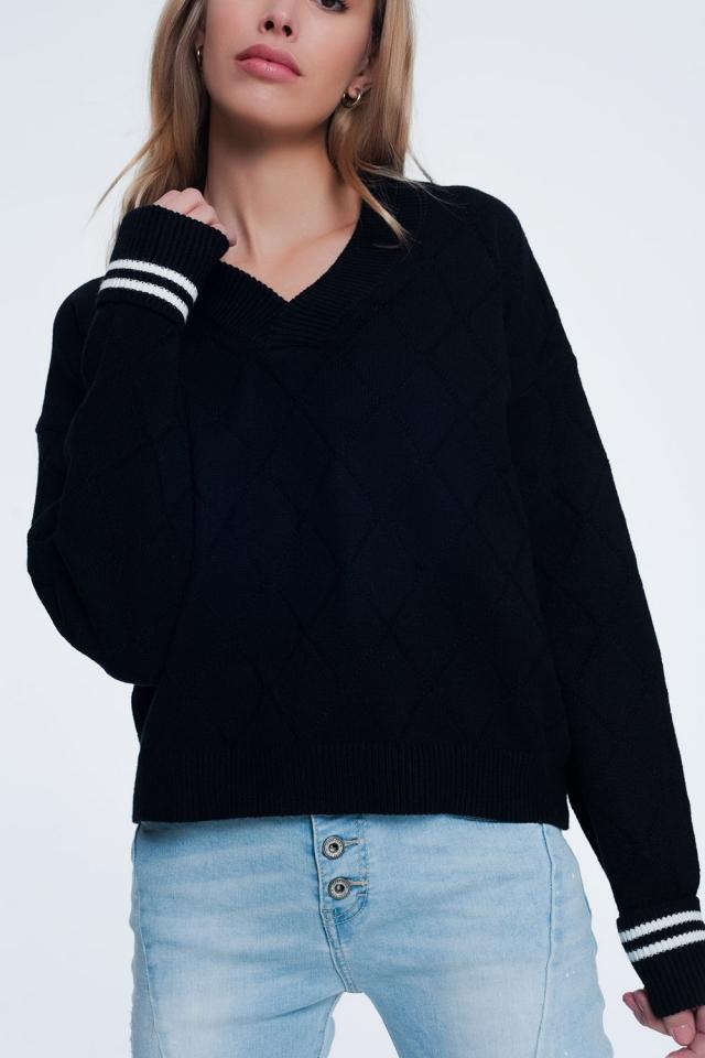 Maglione testurizzato con scollo rotondo nero