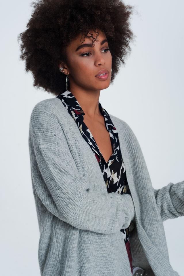Giacca a maglia grigio con angora manica lunga