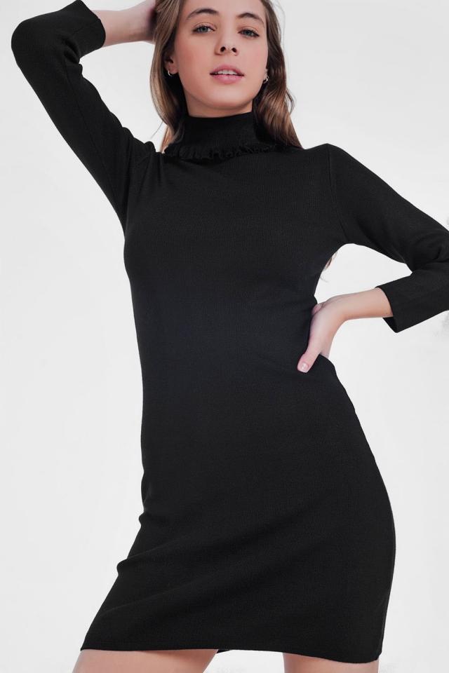 Vestito maglia con collo alto basic nero
