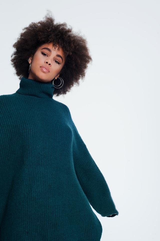 Maglione oversize con collo a imbuto verde