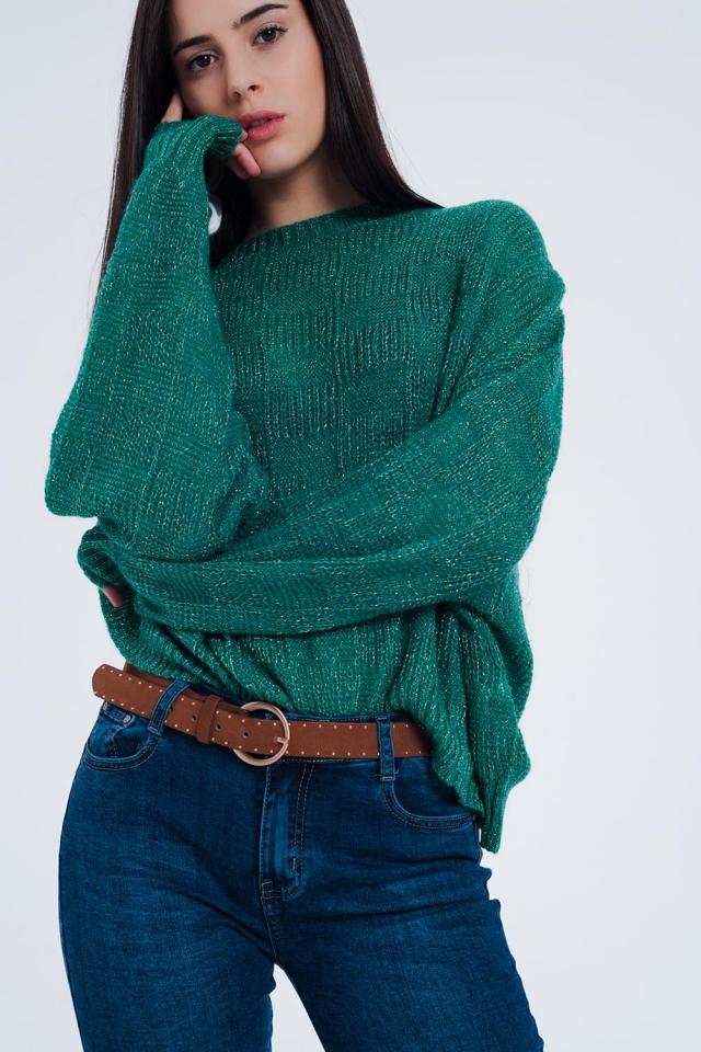 Maglione oversize verde testurizzato a quadri