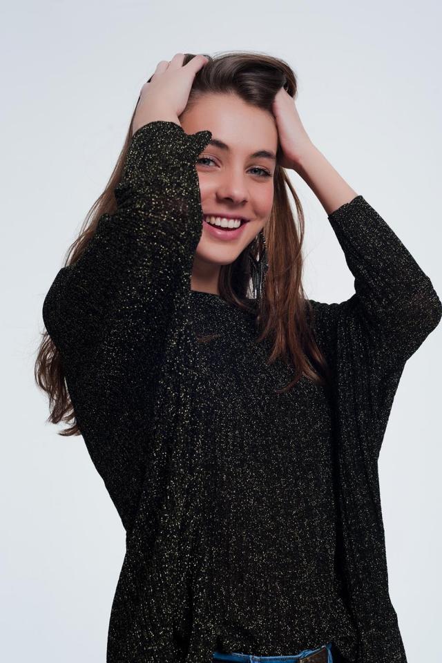 maglione nero glitterato