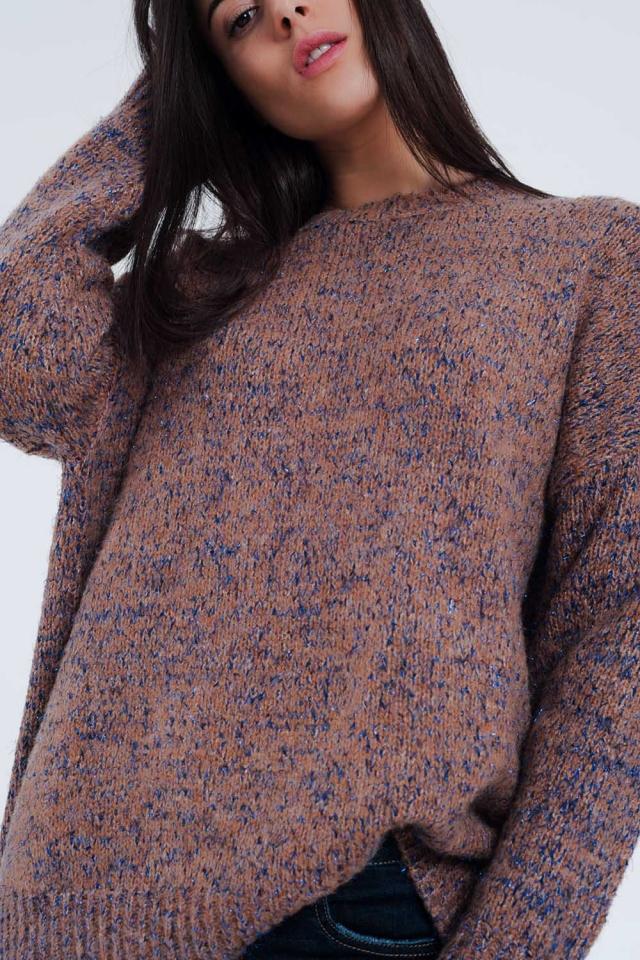 Maglione a maglia spessa con disegno marmorizzato in rosa