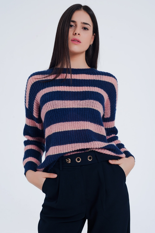 Maglione mohair a righe blu navy con lurex