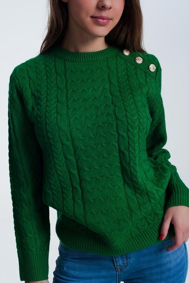 Maglione girocollo testurizzato verde