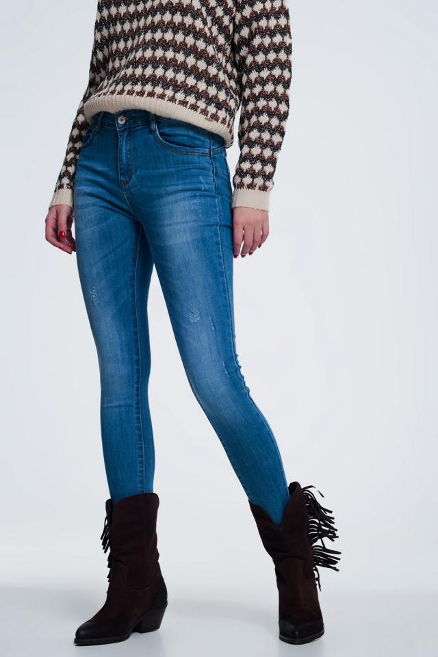 Jeans vita alta modellanti blu denim chiaro