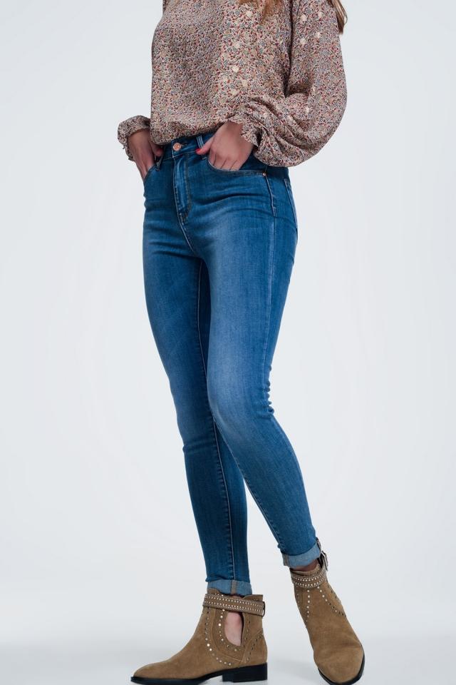 Jeans skinny vita alta blu medio