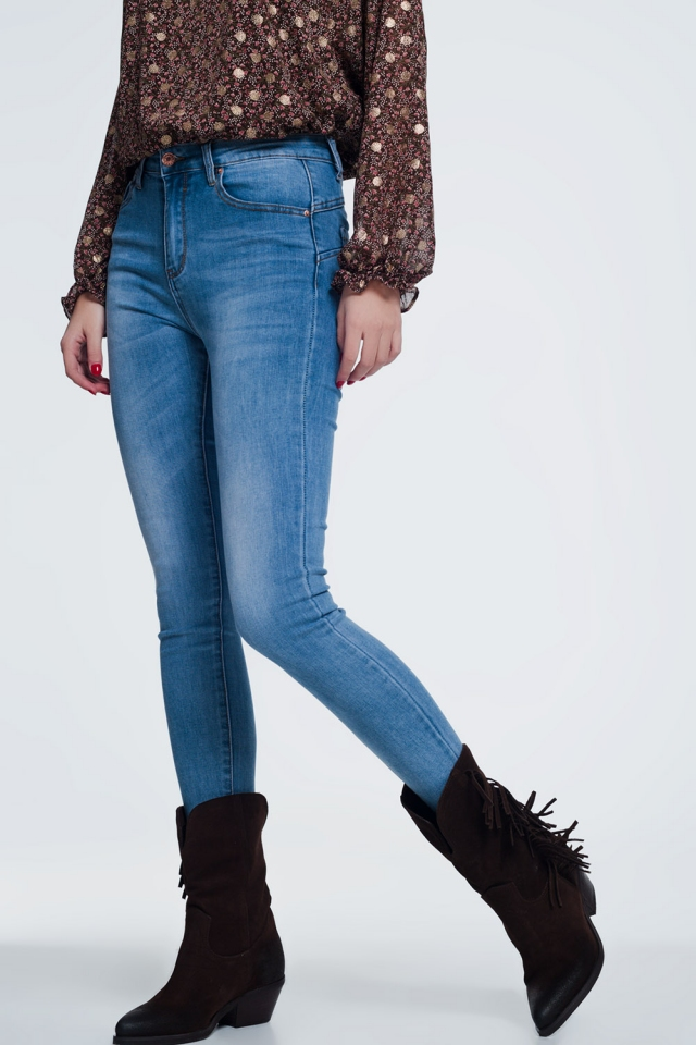 Jeans vita alta skinny blu stone wash medio Pretty