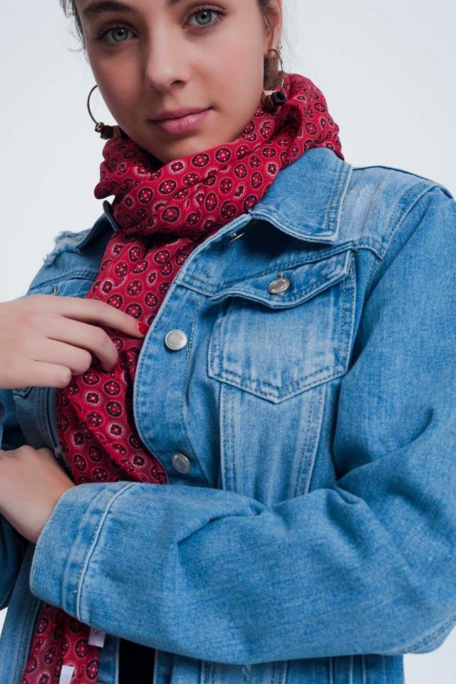 Foulard leggero con monogramma rosso