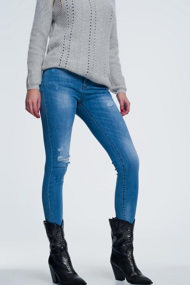 Jeans skinny invecchiati blu medio