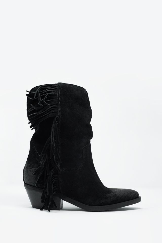 Black boots with rope detailed side