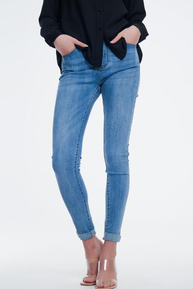 Jeans skinny a vita alta lavaggio azzurro