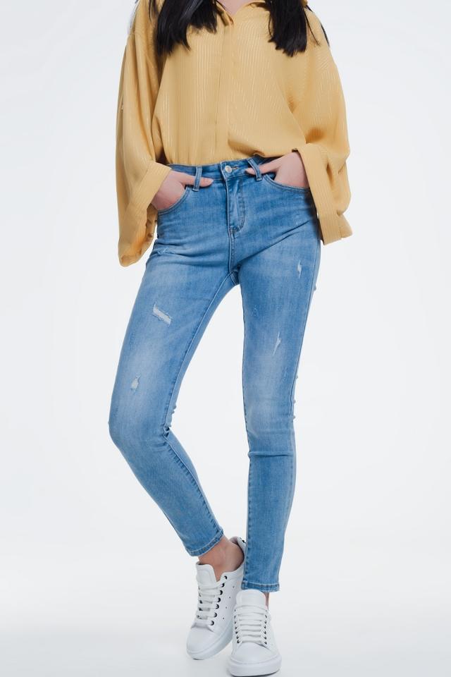 Jeans skinny con pannelli invecchiati