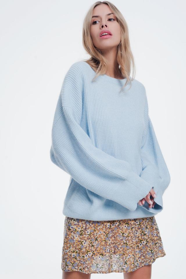 Maglione blu oversize ad ali di pipistrello