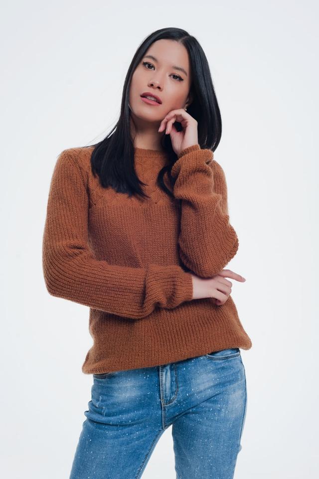 Maglione beige marrone