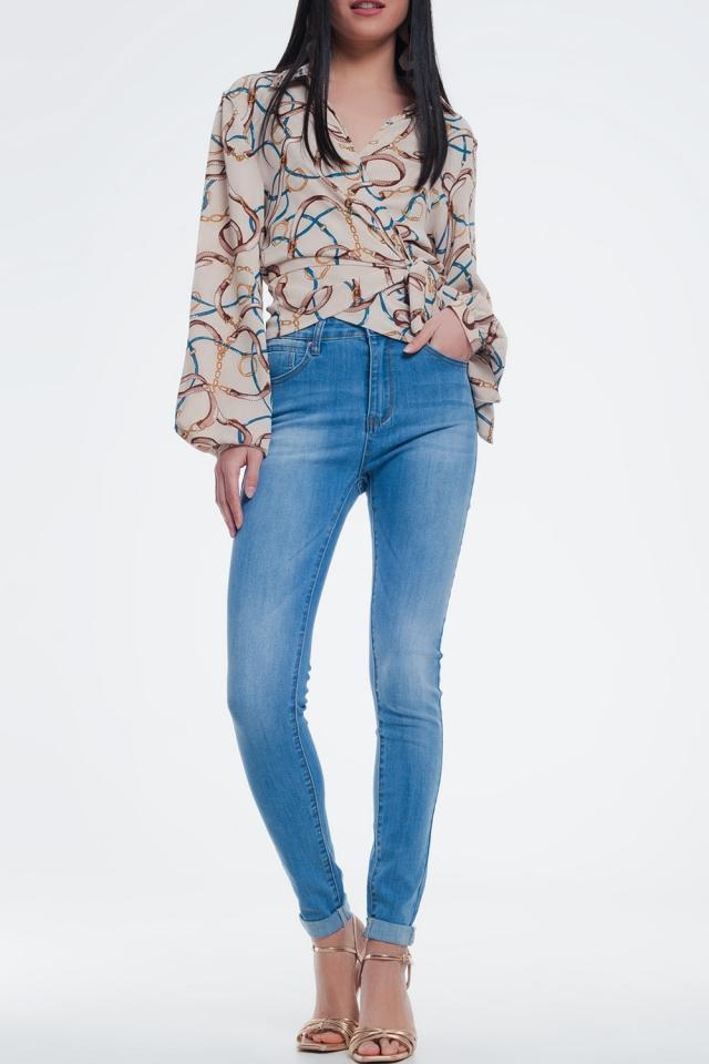 Jeans skinny lavaggio blu medio